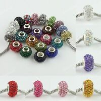 10pc Czech Crystal Silver Sparkle Charms Spacer Beads 15mm fit European Bracelet