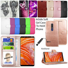 For Nokia 3.1 Plus Case Wallet Cover Leather Book Flip Stand + Screen Protector
