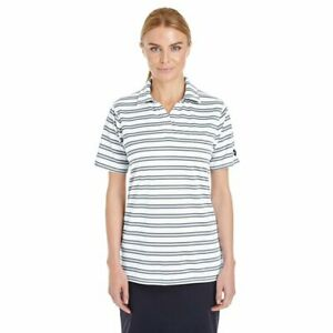 NWT$50, size Small, women's Under Armour white/grey striped Loose HeatGear polo