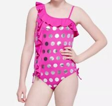 Justice Girls Size 8 Pink  & Silver Foil Polka Dot Ruffle One-Piece Swimsuit NEW