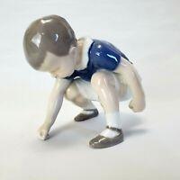"Bing & Grondahl Figurine ""Dickie"" Porcelain #1636 Denmark Boy Squatting Figure"