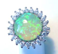 "GORGEOUS GREEN FIRE OPAL/WHITE TOPAZ  RING UK Size ""Q"" US 8.5"