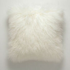 Mongolian Lamb Wool Cushion Cover White Curly Fur Pillowcase 16*16inc High-grade