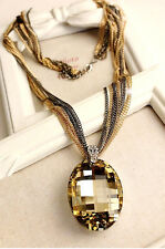 X large yellow crystal pendant multi chain long necklace UK seller