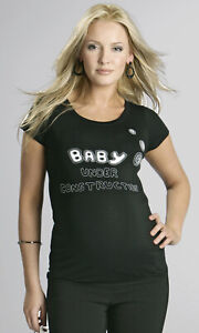 Baby Under Construction Maternity Slogan T-Shirt Funny Pregnancy Top Size 8 - 16