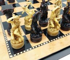 "ZEUS GREEK ROMAN MYTHOLOGY GODS CHESS SET 15"" WALNUT BIRDSEYE MAPLE COLOR BOARD"