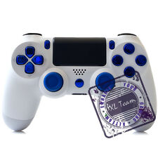 SONY DUALSHOCK 4 WIRELESS CONTROLLER WHITE - CUSTOM FOR PS4 CHROME BLUE BUTTONS