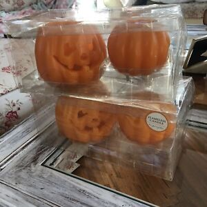 POTTERY BARN WAX LUMINARY 2 Jack O Lantern Pumpkin HALLOWEEN DISCONTINUED Set