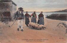 CPA 29470 PLOUGASTEL FOLKLORE COSTUMES BRETON Départ pour le marché cochons 1907