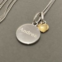 Engraved ANDREA I LOVE YOU & Heart Pendant Necklace 925 Sterling Silver Dainty