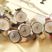 Casual 2017 Luxus Analog Quartz Kristall Mode Frauen Armbanduhr Leder Uhr