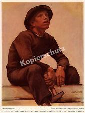 Egger-Lienz Malerei Lebensalter Studie Knabe Handwerk Holz Zimmermann Tirol 1910