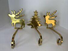 3 Solid Brass Long Arm Stocking Holders Hangers, (1) Tree (2) Reindeer Vintage