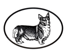 Dog Breed Oval Vinyl Car Decal Black & White Sticker - Welsh Pembroke Corgi