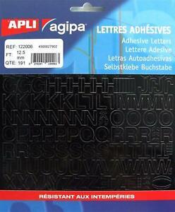 [Ref:122006] AGIPA pochette 191 lettres adhesives 12,5 mm Noir