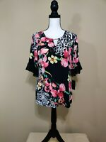 JM Collection Half Sleeve Multi Printed Blouse Knit Top Size Medium NWT