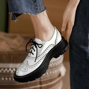 Fashion Women Lace up Flat Pumps Fashion Pumps Carved Wingtip Shoes Size