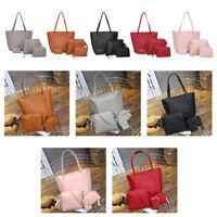 Female 4Pcs/set PU Large Capacity Wallet Card Purse Handbag Shoulder Bag Leather