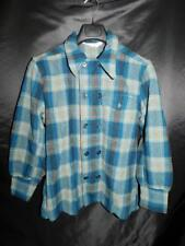 Vintage 70s Woolrich S M Blue Brown Plaid Wool Shirt Jacket Double Button USA