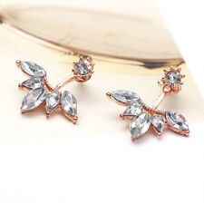 ROSE GOLD PLATED FLOWER CRYSTAL EAR CUFF STUD DOUBLE EARRINGS