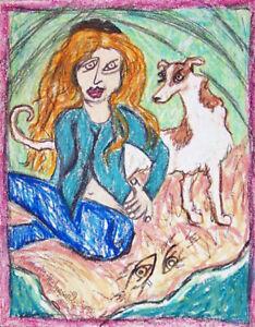 Woman Dog on Bank Folk Art Print 5 x 7 Signed by Artist KSams Borzoi Collectible