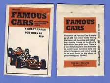 1970 FAMOUS CARS TRADING CARD UNOPENED PACK CHEVY FORD NISSAN LAMBORGHINI