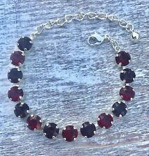 Swarovski Elements Red Ruby Burgundy Crystal Bracelet Silver Plate Made With