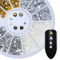 Gold Silver Nail Rhinestones Multi-size Flat Bottom Nail Art Decoration in Wheel