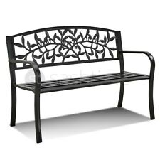 More details for  3 seater garden bench cast iron metal seat backrest patio chair armrest outdoor