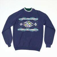 Vtg Grandma Double Crew Neck Floral Themed Sweatshirt 80s Raglan Normcore SMALL