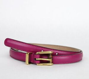 New Authentic Gucci Women's Leather Skinny Belt w/Bamboo Buckle 339065