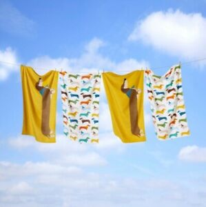 Pair (2) of Dachshund Sausage Dog Beach Bath Towels 100% Cotton 70 x 20 cm BNIB