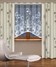 Moderno, Jacquard Set neto cortinas para ventana Con Cortina Cinta white/linen
