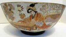 "Beautiful Antique Japanese Satsuma Hand Painted 10"" Bowl Vintage"