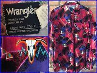 Vtg Wranger Longhorn Bull Skull All Over Print Pink Western Metal Shirt 17.5 36