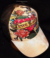 Stephanie Headwear Tan True Love For You Rhinestone Tattoo Snapback Trucker Hat