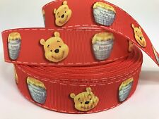BTY 1 Inch Red Disney Pooh And Honey Grosgrain Ribbon Hair Bows Lisa
