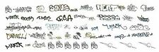 HO BLACK GRAFFITI TAGS DECALS ASSORTMENT 209  FREE SHIPPING DOMESTIC