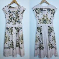 NWT Free People 4 Button Front Flor Front Cut Out Ties Cotton Pink Maxi Dress