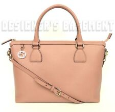 GUCCI pink leather gold GG CHARM convertible LARGE TOTE cross-body bag NWT Auth