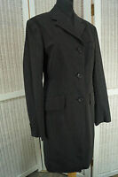 DRIES VAN NOTEN Grey Pinstripe Woolen Coat Dress Fully Lined Size EU 38 Medium M