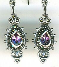 "925 Sterling Silver Amethyst & Marcasite Drop / Dangle Earrings Lgth 1.1/2"" 40mm"