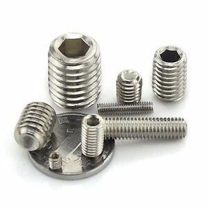 M1.6 M2 M3 M4 M5 M6 M8-M16 Socket Set Screws Cup Point Grub Screws 304 Stainless