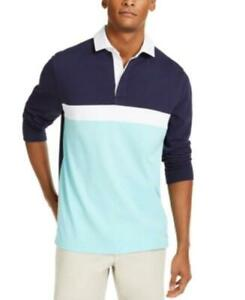 MSRP $55 Club Room Men's Chest Stripe Long Sleeve Polo Shirt Blue Size XL