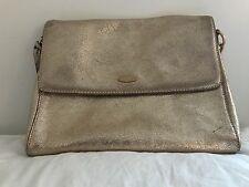 ELIE TAHARI Genuine Leather Gold Cross-Body Shoulder Bag