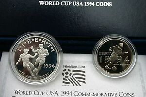 1994 World Cup Soccer Proof 2 Coin Set 90% Silver Dollar and 50 Cent Box and COA