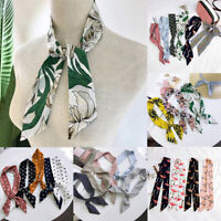 90*5cm Women Leaf Dot Print Chiffon Scarf Ribbon Hair Band Handle Bag Ties Wrap