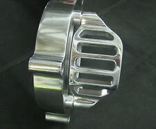"""Polished 2"""" Quarter Grill Pulley Cover for Ultima Softail Dyna Open Belt Drives"""