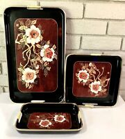 Vintage Black Lacquer Serving Trays Toyo 3 Piece Set Flowers Peonies Japan Red