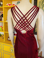 NOS Vtg 90s Wine Velvet CDC Drama Cage Back Rhinestone Cocktail Date Dress M/L